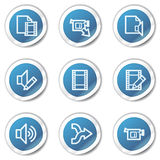 Audio video edit web icons, blue sticker series Stock Image