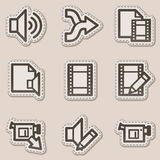 Audio video edit web icons, brown contour sticker. Vector web icons set. Easy to edit, scale and colorize Stock Image