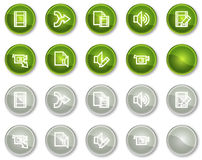 Audio video edit web icons, circle buttons. Audio video edit web icons, green and grey circle buttons series Stock Photography