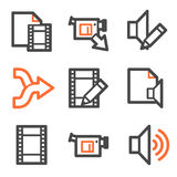 Audio video edit web icons, orange-gray contour Royalty Free Stock Photos