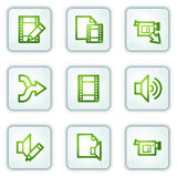 Audio video edit web icons, white square buttons vector illustration