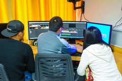 Audio and video editing teaching practice. Compared to the traditional linear editing, the nonlinear editing. Non-linear editing using the computer to carry out royalty free stock photos