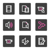 Audio video editing web icons Stock Photo