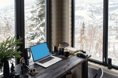 Audio / Video editing workspace office with mountain view. Photography and videography equipment stock images