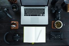 Audio / Video editing workspace office with mountain view. Photography and videography equipment royalty free stock image