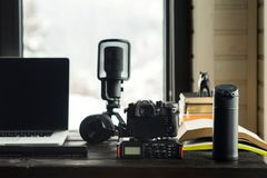 Audio / Video editing workspace office with mountain view. Photography and videography equipment stock photos