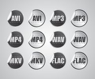 Audio video file format sticker Stock Photo
