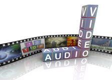 Audio Video film reel. 3d crossword 'audio video' with film reel vector illustration