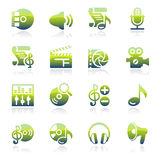 Audio video green icons. Stock Photos