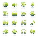 Audio video groene pictogrammen Stock Foto's