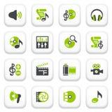 Audio video icone. Serie grigia verde. Fotografia Stock Libera da Diritti
