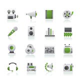Audio and video icons. Vector icon set Stock Images