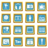 Audio and video icons azure. Audio and video icons set in azur color isolated vector illustration for web and any design Stock Images
