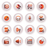 Audio video icons. Black red series. Royalty Free Stock Photos