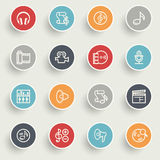 Audio video icons with color buttons on gray background. Royalty Free Stock Photography