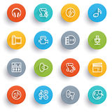 Audio video icons with color buttons. Royalty Free Stock Image