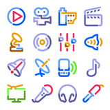 Audio video icons. Color contour series. Royalty Free Stock Photo