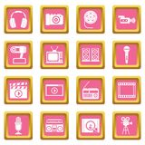 Audio and video icons pink Royalty Free Stock Photos