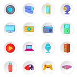 Audio and video icons set, cartoon style. Audio and video icons set in cartoon style. Multimedia set collection vector illustration Royalty Free Stock Images