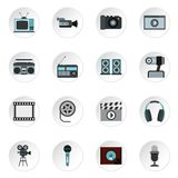 Audio and video icons set, flat style. Audio and video icons set. Flat illustration of 16 audio and video icons for web Royalty Free Illustration