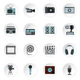 Audio and video icons set, flat style. Audio and video icons set. Flat illustration of 16 audio and video vector icons for web Stock Photography