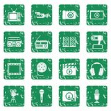 Audio and video icons set grunge Royalty Free Stock Images