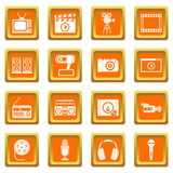 Audio and video icons set orange. Audio and video icons set in orange color isolated vector illustration for web and any design Royalty Free Stock Photo
