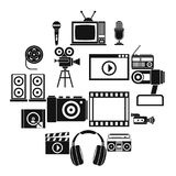 Audio and video icons set, simple style. Audio and video icons set in simple style. Multimedia set collection vector illustration Stock Photo