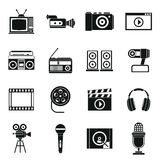 Audio and video icons set, simple style. Audio and video icons set in simple style. Multimedia set collection vector illustration Royalty Free Stock Image