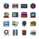 Audio and Video icons vector illustration Royalty Free Stock Images