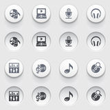 Audio video icons on white buttons. Set 1. Royalty Free Stock Photography