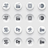 Audio video icons on white buttons. Set 2. Stock Photo