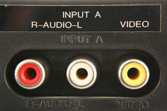 Audio video input jacks Stock Photo