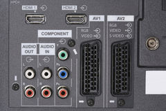 Audio video Inputs. LCD TV -Audio video Inputs Royalty Free Stock Photography