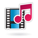 Audio video media file icon. Vector icon including movie film and music note, related to interactive media, movies and music, mp3, data, multimedia, web sites Royalty Free Stock Images