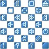 Audio video media icons set no.3 - blue Royalty Free Stock Image