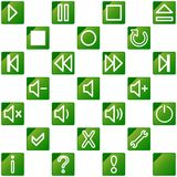 Audio video media icons set no.3 - green Stock Photo