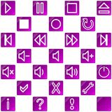 Audio video media icons set no.3 - pink, purple Stock Photo