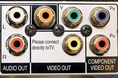 Audio and video output. AV connectors stock image