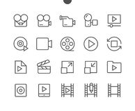 Audio Video Pixel Perfect Well-crafted Vector Thin Line Icons Stock Images