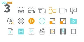 Audio Video Pixel Perfect Well-crafted Vector Thin Line Icons 48x48 Ready for 24x24 Grid for Web Graphics and Apps with. Editable Stroke. Simple Minimal stock illustration