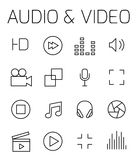 Audio and video related vector icon set. Well-crafted sign in thin line style with editable stroke. Vector symbols  on a white background. Simple pictograms Royalty Free Stock Image