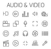 Audio and video related vector icon set. Well-crafted sign in thin line style with editable stroke. Vector symbols isolated on a white background. Simple Stock Images