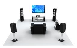 Audio and video room, view front. Home-cinema modern (done in 3d Stock Photography