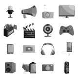 Audio and video set, black monochrome style. Royalty Free Stock Photography