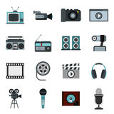 Audio and video set, flat style. Flat video icons set. Universal video icons to use for web and mobile UI, set of basic video elements  vector illustration Stock Photo