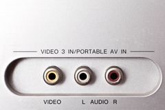 Audio and video sockets Royalty Free Stock Photo