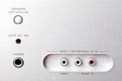 Audio and video sockets Stock Image