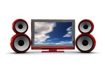 Audio video system. 3d illustration of plasma tv and audio speakers over white background Royalty Free Stock Photos