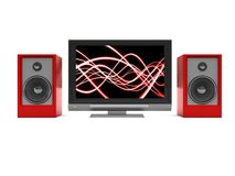 Audio-video system. 3d illustration of tv and audio system over white background Stock Image
